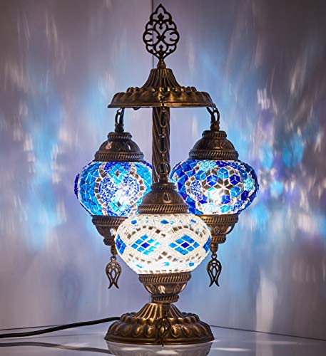 DEMMEX 2019 Stunning 3 Globe Turkish Moroccan Bohemian Table Desk Bedside Night Lamp Light Lampshade with North American Plug & Socket, 19 Inches (Blue Mix 1)