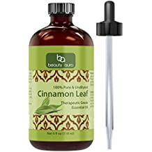 Beauty Aura Cinnamon Leaf Essential Oil - 4 Oz. Bottle - Pure Therapeutic Grade Oil - Ideal for Aromatherapy