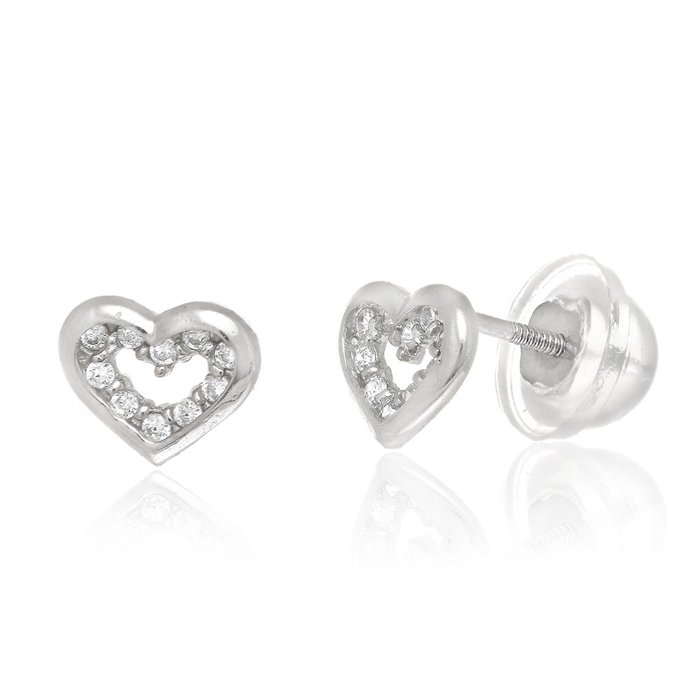 JewelStop 14K White Gold Open Heart CZ Stud Childrens Earrings Cubic Zirconia With Screw Silicon Back