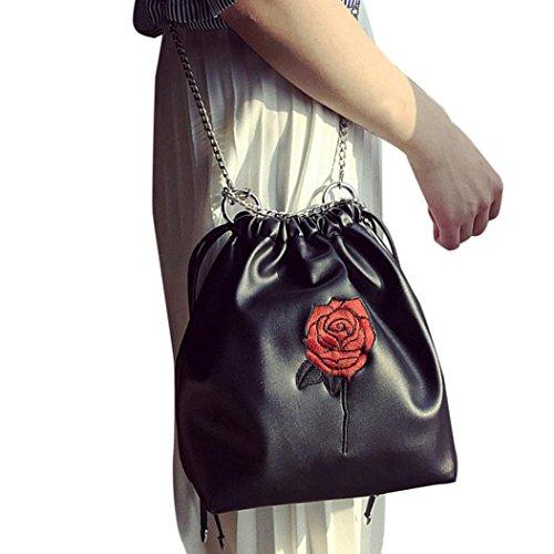 Mode OverDose Broderie Tout Sac Femmes Des Serrage Bourse De Dames à Roses Cordon Noir Sac Main Fourre wROEEq154