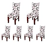 SoulFeel Set of 6 x Stretchable Dining Chair Covers, Spandex Chair Seat Protector Slipcovers for Holiday Banquet, Home Party, Hotel, Wedding Ceremony (Maze 03, Brown)