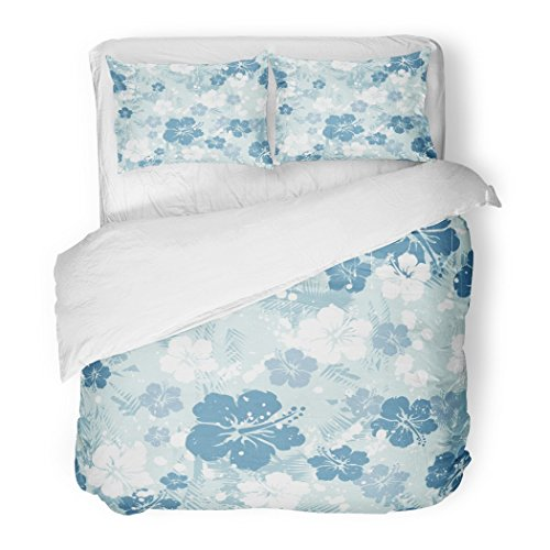 SanChic Duvet Cover Set Hawaiian Tropical Floral Distressed Hawaii Beach Surf Vintage Decorative Bedding Set with 2 Pillow Cases Full/Queen Size