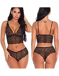 6b8f51ef4b0 Women Sexy Lace Bra and Panty Set Bralette Lingerie 2 Piece Babydoll  Bodysuit S-XXL