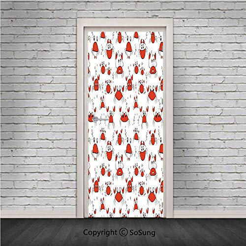 Nursery Door Wall Mural Wallpaper Stickers,Funny Cartoon Crabs in Simplistic Drawing Style Animal Caricatures Happy Cute Design,Vinyl Removable 3D Decals 30.4x78.7/2 Pieces set,for Home Decor Red Blac