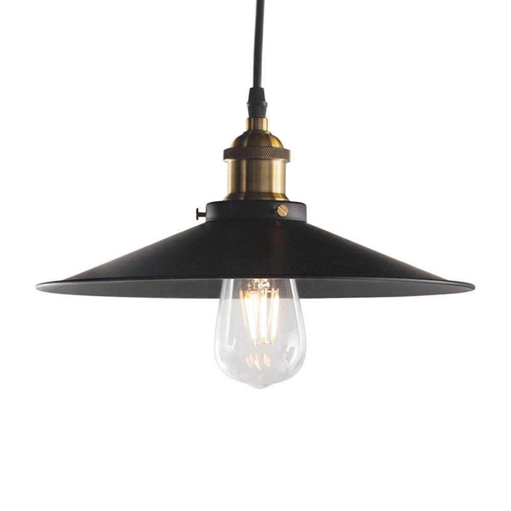 Pendant Light Industrial, Metal Edison Hanging Light, Vintage/Modern, E26 Base, for Dining Room, Living Room, Warehouse, Farmhouse(1 Light, Flat Black)
