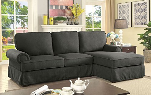 Amazon.com: Stylish Contemporary Sectional Sofa Set Gray Linen Like ...