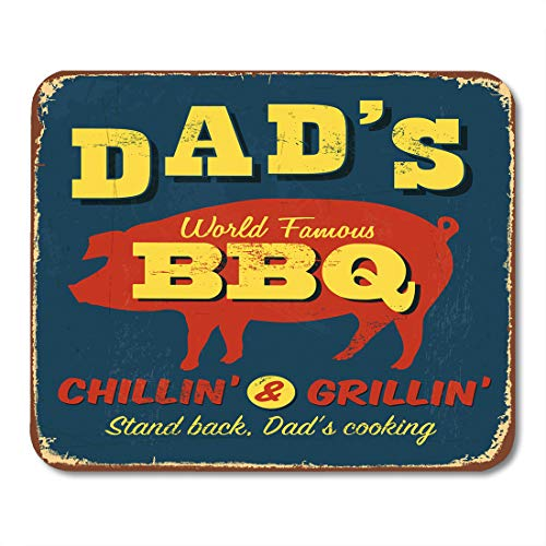 (Emvency Mouse Pads Retro Vintage Metal Sign Dad BBQ Effects Can Be Easily Removed Grill Barbecue Mousepad 9.5
