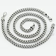 6MM Stainless Steel Franco Foxtail Box Necklace Bracelet Chain JEWELRY SET Mens Chain Necklace