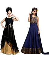 Market Magic World Girl's Banglori & Net Semi Stitched Kids Wear Salwar Suit (Gown)(MMW-09014_Black & Blue_Free Size_8 to 12 year age)