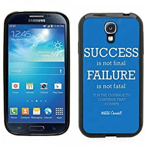 Samsung Galaxy S4 SIIII Black Rubber Silicone Case - Success is not final, Failure is not fatal - motivational saying