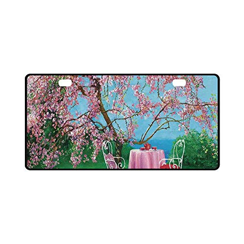 YOLIYANA Rustic Utility License Plate,Tea Time Theme Vintage Chairs Plum Tree Spring Garden Painting for Car,11.8