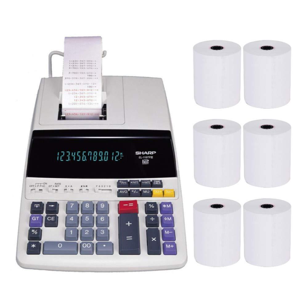 Sharp EL-1197PIII Heavy Duty Color Printing Calculator with Clock and Calendar Bundle (7 Items)
