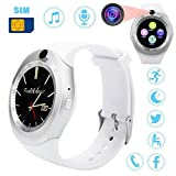 Buyeverything Bluetooth Smart Watch Round Touch Screen Smart Wrist Watch SIM Smartwatch Phone Mate Camera Pedometer Sport Fitness Tracker for Android Samsung LG for Men Women Children Kids (White)