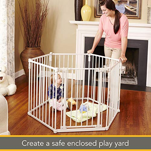 North States 3-in-1 Metal Superyard - 144 inches Long Play Yard: Create an extra-wide gate or a play yard. Hardware mount or freestanding. 6 panels, 10 sq. ft. enclosure (30 tall, Beige)