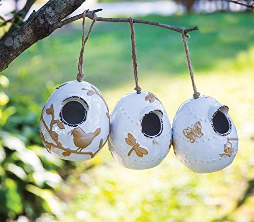 Manual Woodworkers Whitewash Egg-Shaped 5 x 6 Inch Ceramic Indoor Outdoor Birdhouses Set of 3
