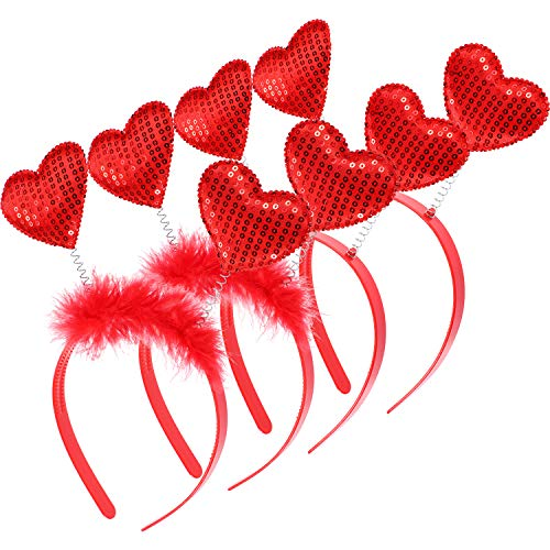 Chuangdi 4 Pieces Valentine Red Heart Headband Festive Headboppers Party Accessories Holiday Favor for Women and Girls (Style D Red)