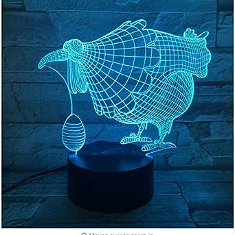 Lámpara 3D Ilusión óptica 7 Lámpara de mesa colorida Huevo de ...