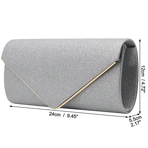 Lady Glitter Wedding Wallet Banquet black Shiny Clutch Bag Wiwsi Frosted Evening Purse Rqx67Rw1dn