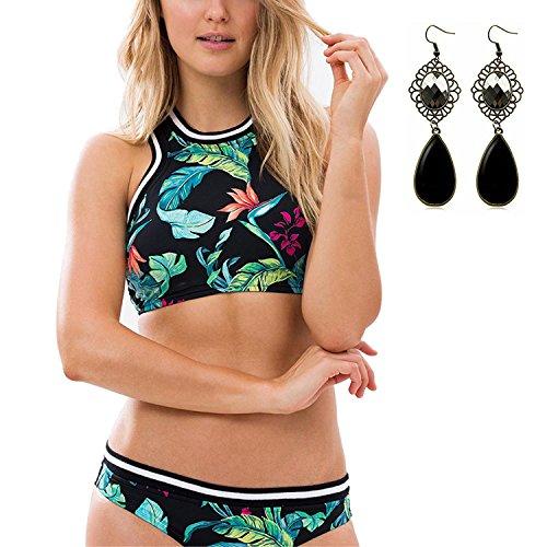 M-Queen Mujeres Dos Piezas Hoja Impreso Traje de Baño Bañador Bikini Conjuntos Deporte Push up Bathing suit Beachwear el Verano color 1