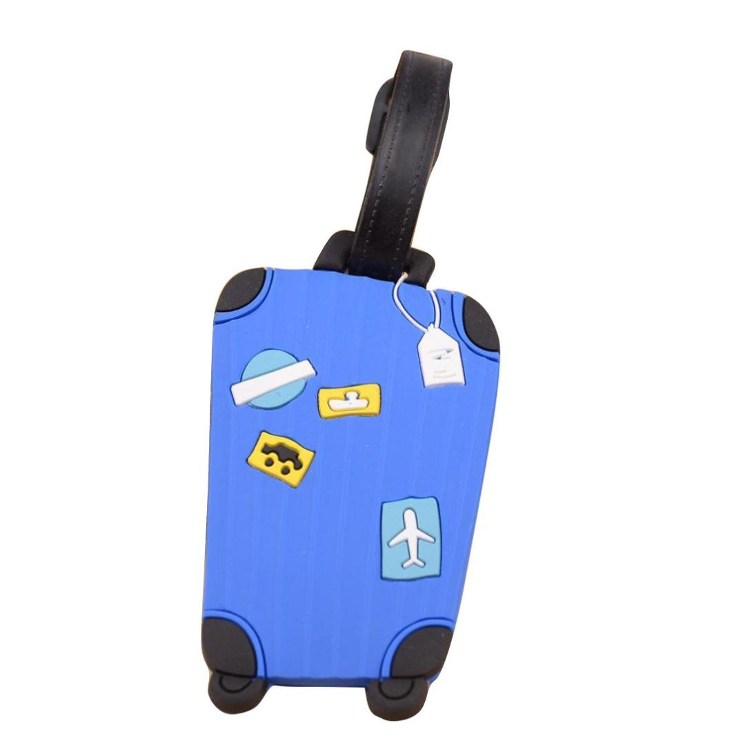 Bestpriceam New Suitcase Luggage Tags ID Address Holder Silicone Identifier Label (Blue)