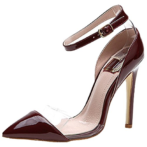 HooH Women's Patent Leather Transparent Ankle Strap Stiletto Pumps MF Wine Red NHvIKf