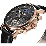 KINYUED Mens Tourbillon Mechanical Stainless Steel Watch Sports Leather Military Automatic Watches for Men