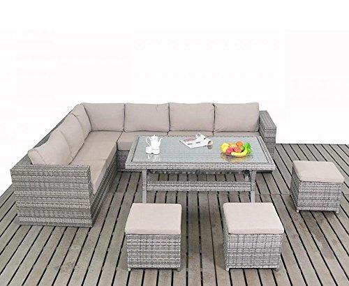Mesa rústica conjunto de sofá en esquina de jardín: Amazon.es: Jardín