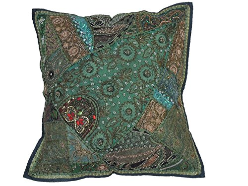 NovaHaat Green Sari Patchwork Tapestry Floor Pillow Cover - Beaded Decorative Ethnic Indian Large Square European Cushion ~ 26 Inch x 26 Inch