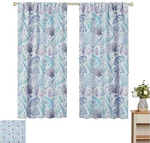 June Gissing Nautical Kids Curtain Various Sea Shell Pattern Underwater Bubbles Ocean Maritime Print Fade Resistant Polyester Microfiber W55 x L63 Indigo Pale Blue Purple