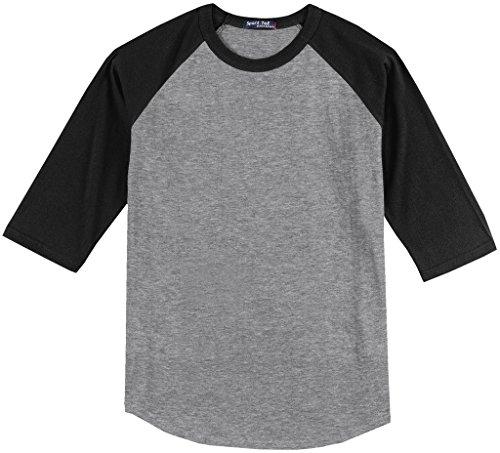 Sport-Tek Big Men's 3/4 Sleeve Raglan Baseball T-Shirt 4XL Gray/Black #590B