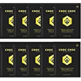 Charcoal Mask Sheet Eightwonders CHOC CHOC Propolis Black Honey Black Mask with Ultimate Natural Green Propolis Extract 20,000ppm,Bamboo. Firms, Plumps and lifts skin, Pack of 10, 0.88 fl oz each