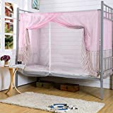 Fabal Students Dormitory Bunk Beds Nets Spread Blackout Curtains Mosquito Net (Pink)