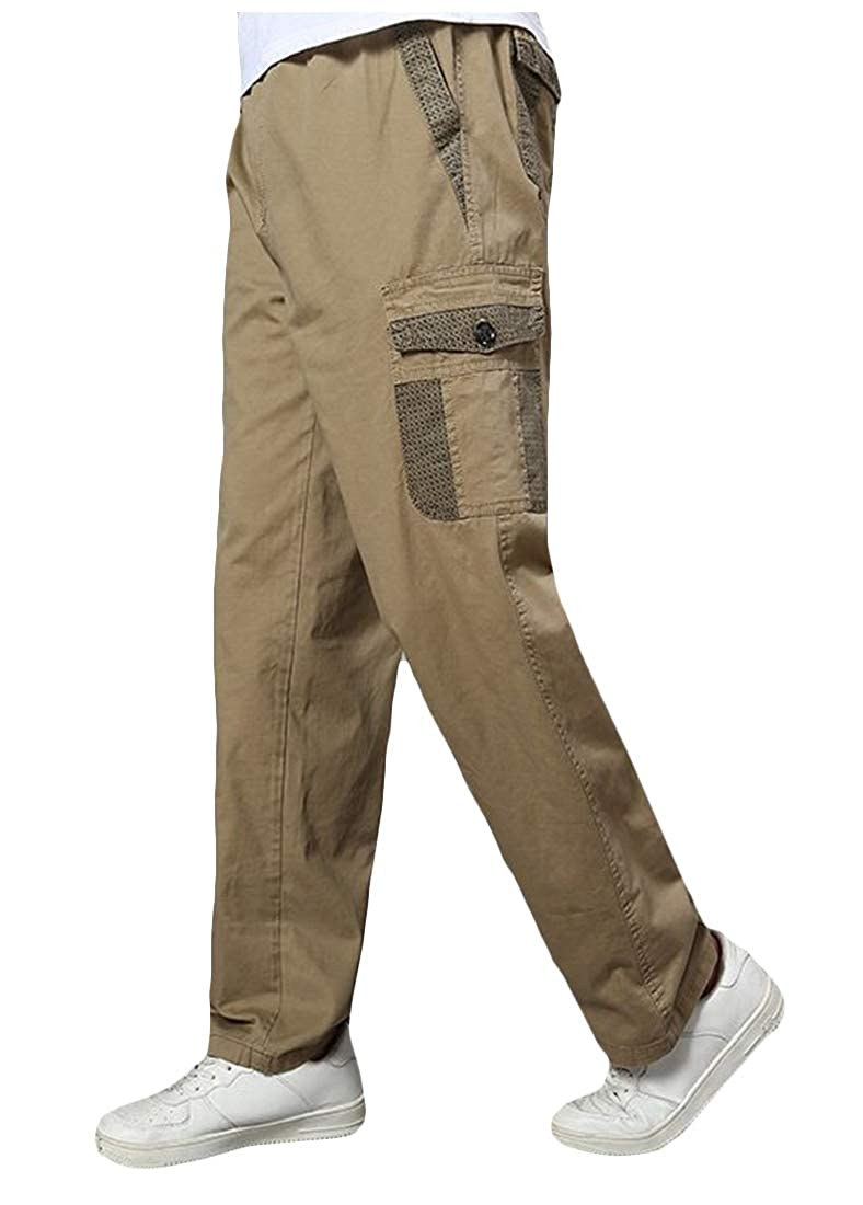 Cromoncent Mens Plus Size Rugged Sport Workout Multi-Pocket Straight Cargo Pants