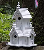 BIRDHOUSE: Shabby Distressed White Wood Victorian Style Bird House NEW