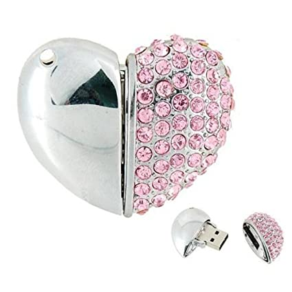 Microware Heart Shape Pink Jewellery Designer Pen Drive 8  GB Pen Drives