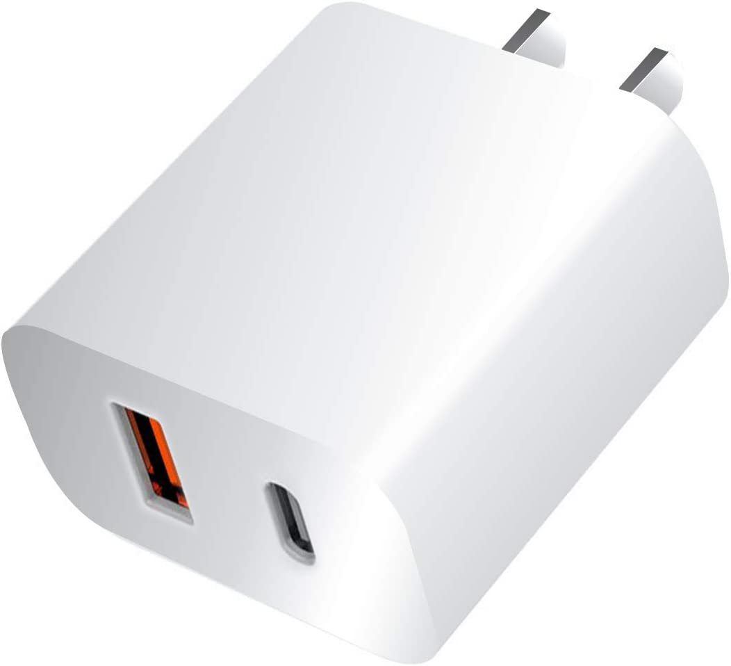 USB C Wall Charger,2 Port PD Charger Fast Charging (Dual Port USB C PD18W USB A QC 3.0 Power Deliver for iPhone 11 Pro Max/XR, iPad Pro, Galaxy S9 S8, Airpods Pro, Pixel 3