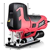 Goplus 6.5 Amp Jig Saw with Laser and LED Light, Max Bevel Cutting Angle (-45°-45°), 6 Variable Speed, Includes Guide Ruler and 4 Blades Metal