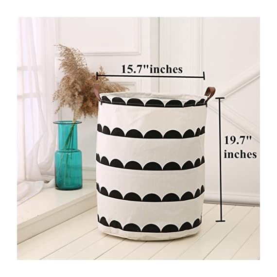 """LANGYASHAN Storage Bin,Canvas Fabric Collapsible Organizer Basket for Laundry Hamper,Toy Bins,Gift Baskets, Bedroom… - STORAGE BIN SIZE: 19.7""""H x 15.7""""D inches,our storage basket great for toy bins, Laundry Basket and Nursery Hamper.Toy Box,Toy bin,Toy Storage and Toy Organizer for Boys and Girls MATERIAL:85% Canvas ,10% PE and 5% Leather long Handles.strong handles make easy to move everywhere,it have a wire ring at the top.It will recover after a period of time using or put satff in side. LANGYASHAN storage bin different from other materials in the market,The material is more thick and can be used for a long time. ORGANIZE EVERYTHING: The laundry hamper provides attractive and lightweight solution to many storage needs such as Clothing Storage (especially for underwear, socks, bra, etc.), Home Textiles Storage, Toy Storage, Toy bin,Toy box ,Kid's hamper, laundry basket,Baby Product's Storage and Pet Product's Storage. - laundry-room, hampers-baskets, entryway-laundry-room - 51jOGLHy8eL. SS570  -"""
