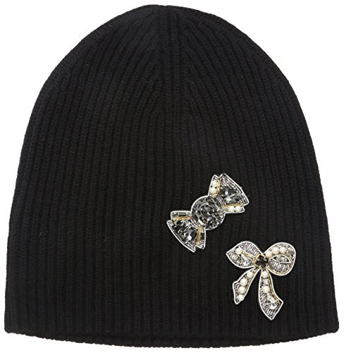 Marc Jacobs Women's Embellished Cashmere Cold Weather Hat, Black, One Size by Marc Jacobs