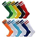 AD Taylor Unisex Knee High Stripe Football Sports football Socks (2 Pack) for Men, Women, Boys and Girls (White/Red Stripe, Big Kid/UK 2.5-6(EUR35-39))