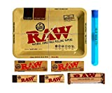 RAW Rolling Tray Combo Includes Tray, 1 1/4 Classic Rolling Papers, 79 mm Rolling Machine, Original Tips, and Roll with Us Doobtube