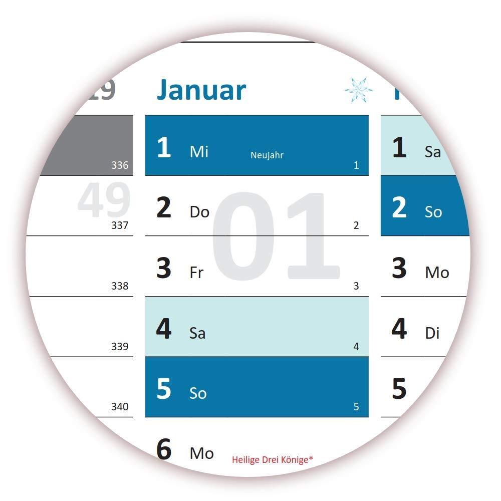 kompletter Jahresvorschau Folgejahr und Ferientermine//Feiertage aller Bundesl/änder gefaltet DIN A2 Format 594 x 420 mm mit 14 Monaten Rainbow Wandkalender//Wandplaner 2020