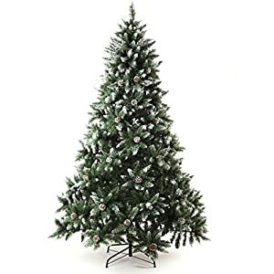 Senjie Artificial Christmas Tree 6,7,7.5Foot Flocked Snow Trees with Pine Cone Decoration Unlit 10