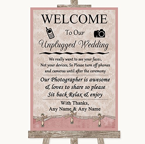 Pink Shabby Chic No Phone Camera Unplugged Personalized Wedding Sign