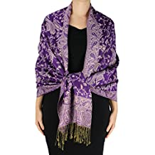 Peach Couture Elegant Double Layer Reversible Paisley Pashmina Shawl Wrap Scarf