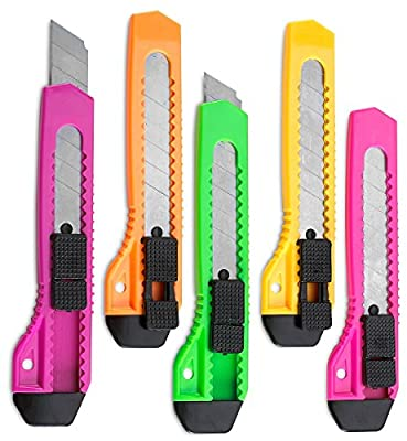 Retractable Utility Knife - 5 Pack 6 Inch Manual-Lock Snap off Blade, Large Size Plastic Body - 8 Points Snap Blade -Heavy Duty Stainless Steel Blade - By Katzco