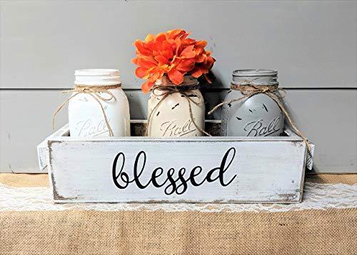 Mason Jars Spring Centerpiece Painted Quart Jars Set of 3 Farmhouse Style Inspirational Easter Rustic Wood ()