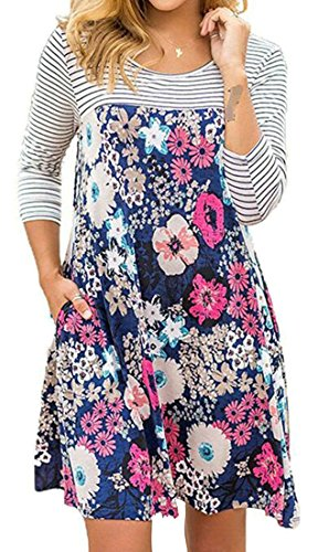 T Dress Blue Womens Long Print Floral Cromoncent Sleeve Dark Casual Shirts Crewneck d0xqwPaPnz