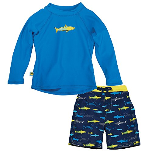 Sun Smarties Boys Shark Matching Rash Guard and Swim Diaper Board Shorts 3T Blue