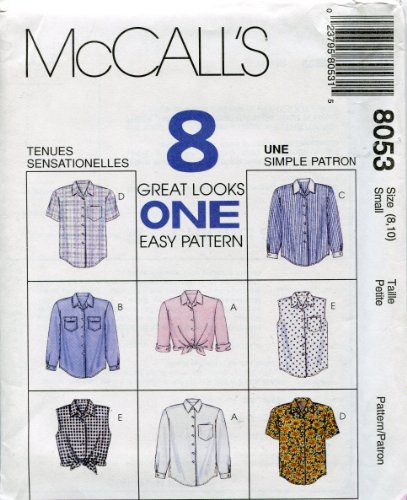 McCall's Pattern 8053 ~ Misses' Shirts & Blouses ~ Small (8,10)